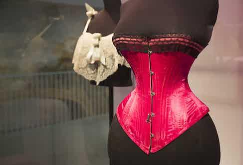 Silk satin, lace and whalebone corset 1890 – 5