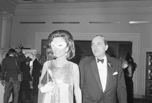 Princess Lee Radziwill attending Truman Capote's 1966 Black and White Ball with second husband, Prince Stanislaus Radziwill, a Polish royal