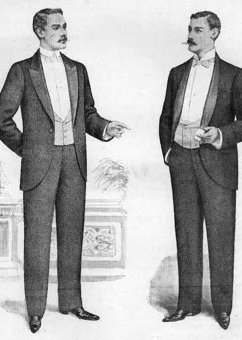 The very origins of black tie; the informal evening coats of the 1890s.