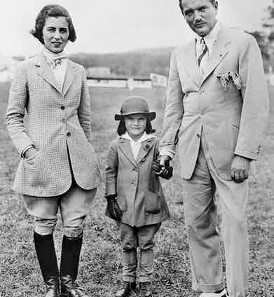 Five-year-old Jackie with her parents John Vernou Bouvier III (a.k.a. 'Black Jack') and Janet Lee Bouvier in 1934