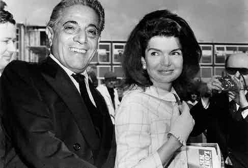 Greek shipping magnate Aristotle Onassis with Jackie in 1968, the year the two married