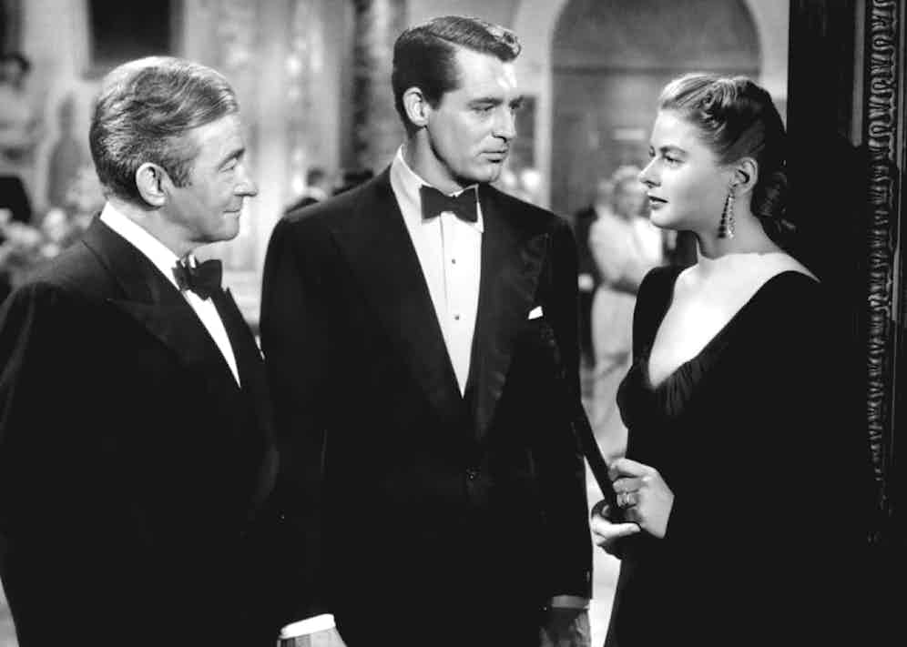 Cary Grant's immaculate three piece in the 1946 film Notorious,is every bit the dinner suit of a Hollywood star, with it's chesty cut, large shoulders and elegant low-cut waistcoat.