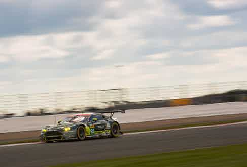 The Vantage GTE on track at Silverstone.