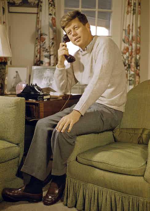 John F. Kennedy on the telephone.