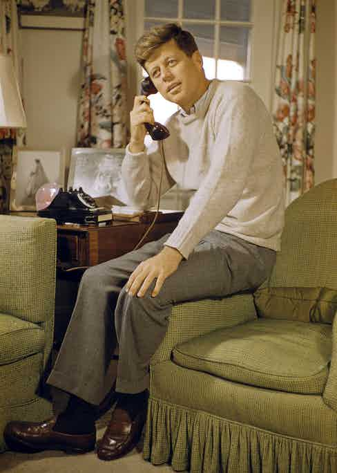 John F. Kennedy on the telephone.