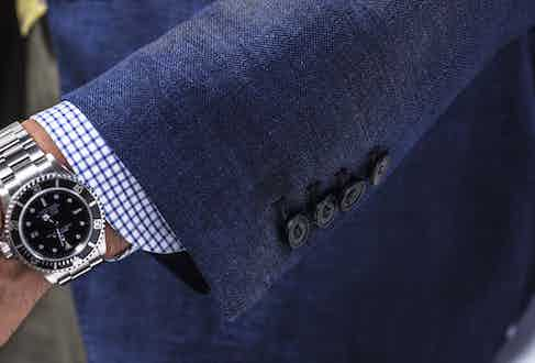 The blazer has four button cuffs, finished with Rubinacci's usual