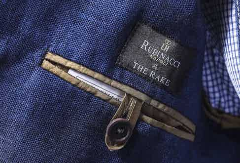 As with all our creations with Rubinacci, this jacket features a unique 'Rubinacci & The Rake' label.