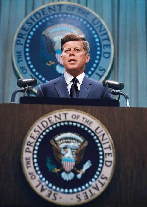 US President John F. Kennedy (1917 - 1963) addresses a press conference, circa 1963.