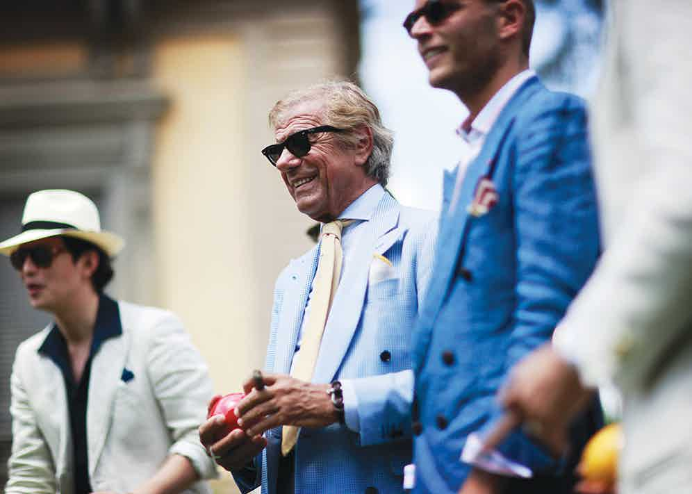 The Rake enjoys a game of bocce ball with a veritable pantheon of Italian style icons during Pitti Uomo, SS15.