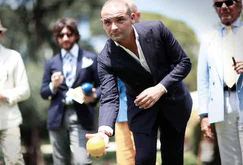 Neapolitan trousermaker, Salvatore Ambrosi, in the midst of The Rake's sartorial bocce ball gathering at Pitti Uomo.
