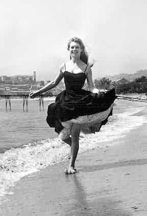 Brigette Bardot on Cannes beach.
