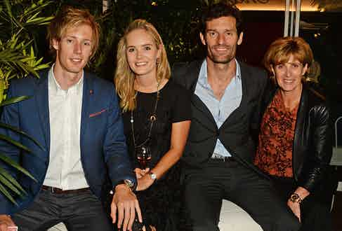 (L to R) Brendon Hartley, Sarah Wilson, Mark Webber and Ann Neal attend the Chopard x Annabel's Cannes party on May 14, 2016 in Cannes, France.
