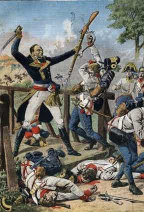 Thomas-Alexandre Dumas fighting off the Austrian army at the bridge of Clausen in Tyrol, on 17 January 1797. Illustration from French newspaper Le Petit Journal, May 26, 1912.