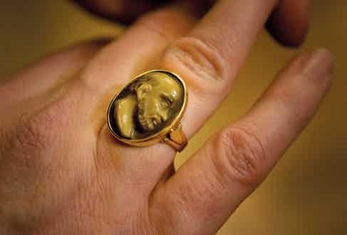 """On his right hand, he also wears an 18th-century ring featuring Socrates, whom Nick adores because he was """"such a pain in the arse."""""""