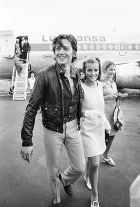 With Romy Schneider at Nice airport before travelling to the set of the the movie 'The Swimming Pool', 1968