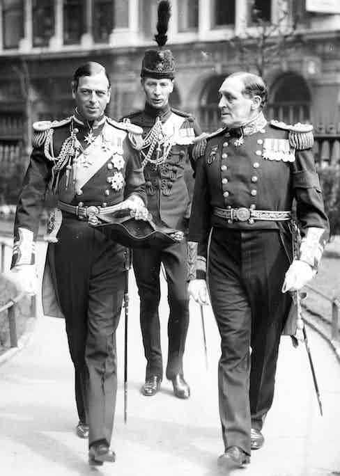 23rd April 1936, England, The Duke of Kent (left) with Admiral Bromley, pictured leaving a St,Paul's Cathedral, London memorial service