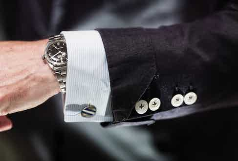 """Jeremy confirms his sartorial credentials with these turnback cuffs. """"It makes a boring suit slightly different,"""" he says. """"It's the same reason I mix up the button placements. I can always pick it out from a line-up."""""""