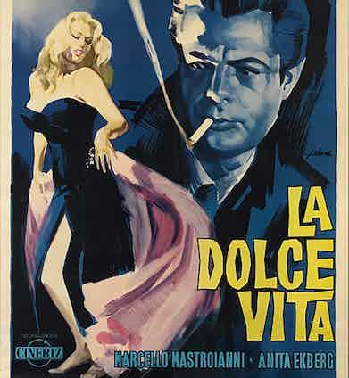 An Italian poster for the 1960 Italian comedy-drama film 'La Dolce Vita', written and directed by Federico Fellini and starring Marcello Mastroianni and Anita Ekberg. The original artwork is by Giorgio Olivetti.