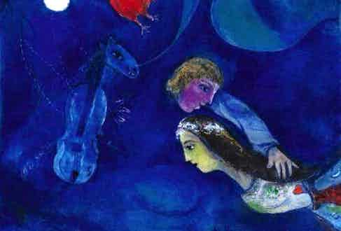 Chagall's Lovers in Blue Sky, the painting which inspired this collaboration with Corthay.