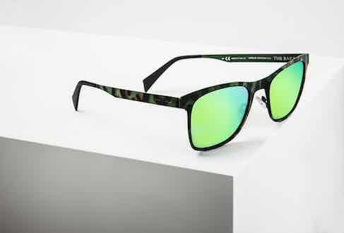 The hand painted camo sunglasses with Lapo Elkann singature green mirrored lenses.
