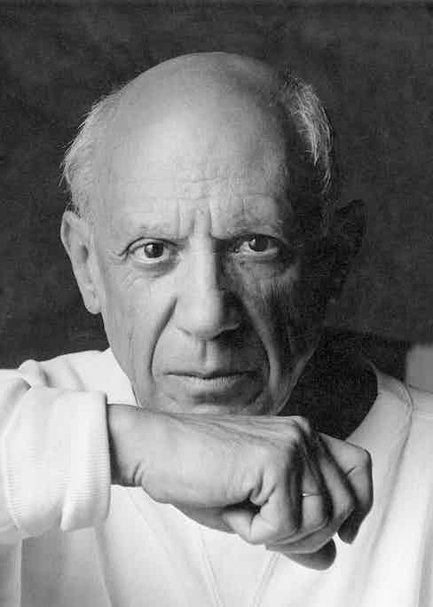 Portrait of artist Pablo Picasso June 2, 1954 in Vallauris, France
