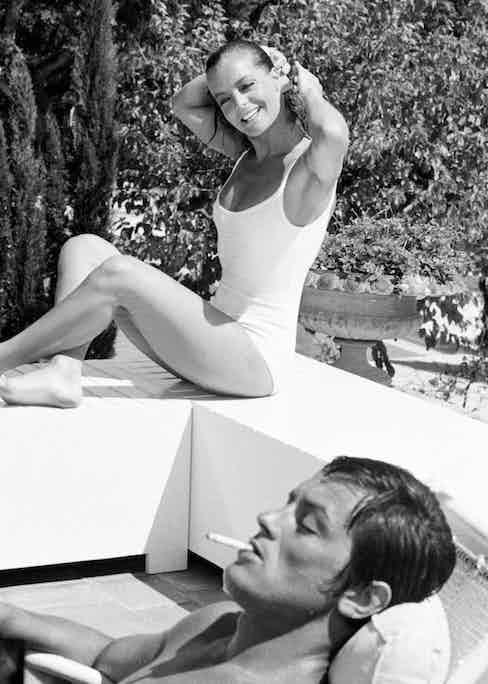 On the set of La Piscine, 1968. Photograph courtesy of Sunset Boulevard/Corbis