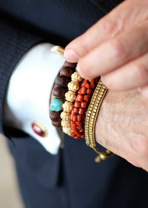 """Broosk's bracelets reflect his love for colour more than anything  else, """"They don't really represent anything"""" he explains, """"I wear them in the summer because they get me thinking about holidays. I am not superstitious so I tend not wear jewellery because it signifies anything in particular."""""""