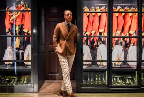 """Gieves is naturally a first port of call for Joe when it comes to dressing clients. """"It's such a rich British brand"""" he explains, """"it's the place to come for those who want to experience a really English sense of style. There's so much history and heritage in this store alone – its ridiculous – well worth celebrating."""""""