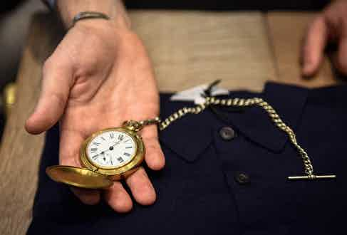 """Joe's pocket watch is another prized personal possession – the chain was his grandfather's """"he was a proper Londoner, born and bred in the markets of the East End"""", and the watch itself was a present from his girlfriend."""