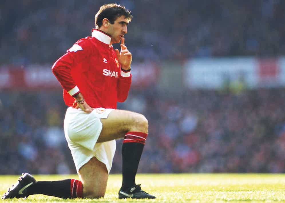 Cantona after scoring two goals for Manchester United in 1993.