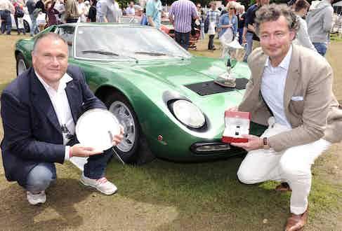 Enrico Maffeo and Laurent Feniou with the winning car, the 1971 Lamborghini Muira SV Automobili Lamborghini S.p.A
