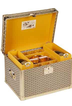 Goyard custom made champagne trunk. Photograph courtesy of Maison Goyard.
