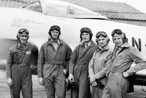Robin Olds with his P-80 demonstration team