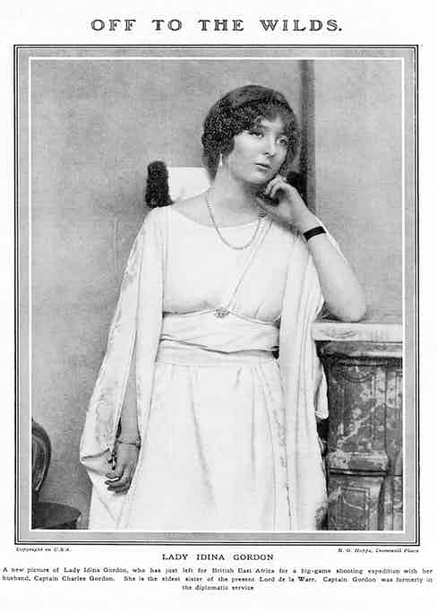 Lady Idina Gordon (nee Sackville), pictured in 1919 before embarking for British East Africa for big game shooting with her husband, Charles Gordon.