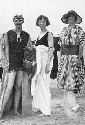 Lady Idina Gordon (nee Sackville) pictured centre, in a bathing suit at the fashionable French resort of Deauville in 1921, pictured with Lady Drogheda on the left and 'a friend', 1921