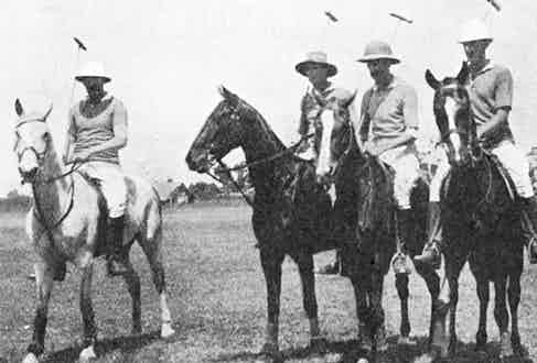 Polo team of the Njoro ground. From left to right: Major W. A. Conduitt, Mr R. A. Pelham-Burn, Captain C. P. Fitzgerald and Colonel Arthur Fawcus, 1925