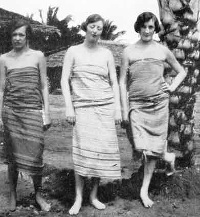 Lady Idina Hay (nee Sackville), pictured in a sarong or kanga with two friends in Kenya during the 1920s, while she was married to Josslyn Hay, Earl of Erroll.  On the left is the Countess N. de Graevenitz and on the right, Mrs. M. Roberts, both similarly attired. 1926