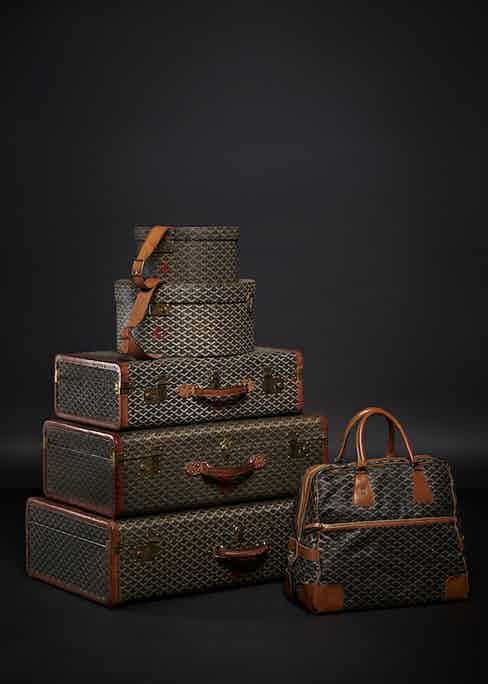 Clara Agnelli's personalised Goyard luggage with her initial 'C' embossed on the leather. Photograph courtesy of Maison Goyard.
