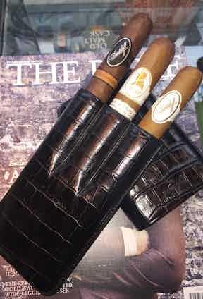 Davidoff XL Black Pressed Leather Case