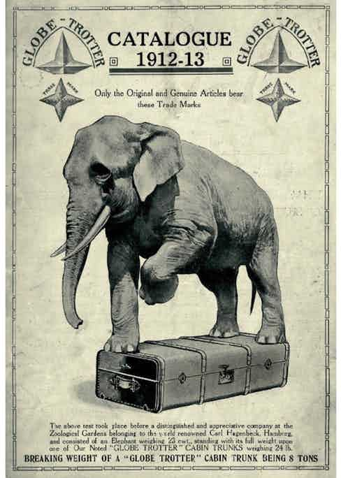 A one ton elephant puts its full weight on a Globe-Trotter cabin case during a strength test.