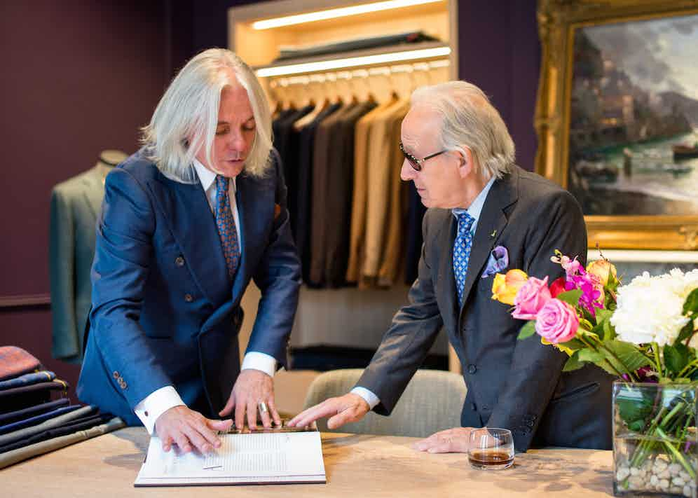 French menswear writer Hugo Jacomet with Leatherfoot's in-house master tailor, Francesco Pecoraro.