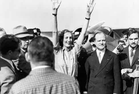 Beryl Markham at Ffloyd Bennett Field in New York after completing the first solo east-to-west Atlantic crossing by a woman.