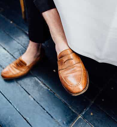 """When it comes to shoes, Elliot doesn't mess about. """"We love Crockett"""" he says """"anything else doesn't last up. When people tell us that they want a really good pair of shoes, we say 'put some money away and go and get a pair of Crocketts' – they're a great thing to commit to and great value for the quality they offer."""""""