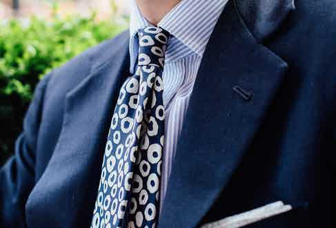 """""""I found this tie in Drake's and fell in love with it"""" says James, """"I love the thickness of it and the way it feels – it's a Drake's 50oz foulard so its got some real depth to it."""""""