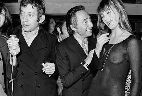 Gainsbourg and Birkin, and French director, screenwriter, and producer Pierre Grimblat attend the premiere of Grimblat's movie Slogan, 1969. Image by © Alain Loison/Apis/Sygma/Corbis