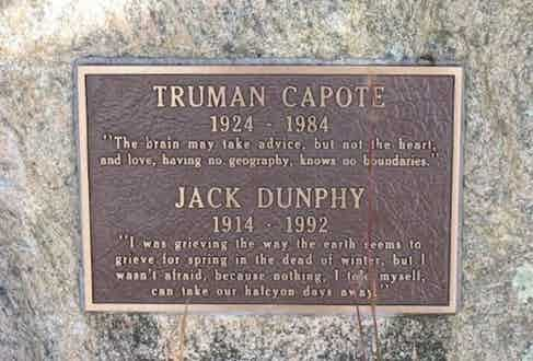 Jack Dunphy and Truman Capote's stone at Crooked Pond in the Long Pond Greenbelt, Southampton, New York.