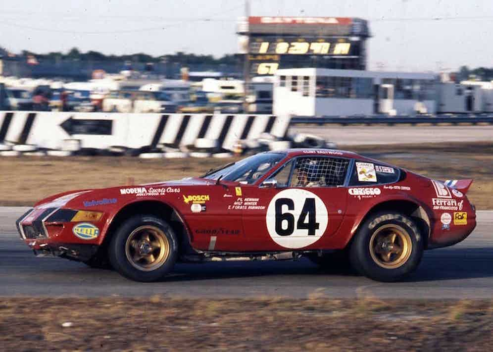 Paul Newman drives his Ferrari 365 GTB/4 Daytona through the infield road course section of the Daytona International Speedway during the 24 Hours of Daytona. Newman co-drove the car with Elliott Forbes-Robinson and Milt Minter to a fifth-place overall finish. (Photo by ISC Images & Archives via Getty Images)