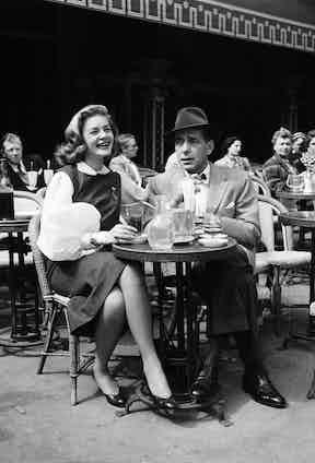 Lauren Bacall and Humphrey Bogart in Paris in the 1950s.