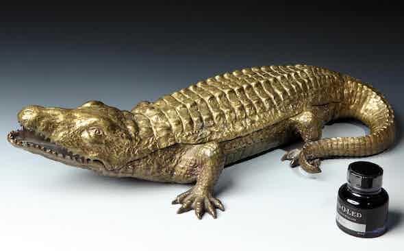 Invest: Pullman Gallery Antique Bronze Crocodile Inkwell