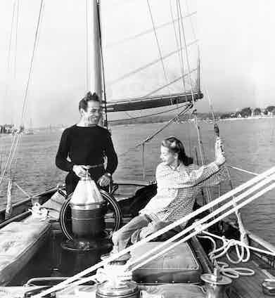 Humphrey Bogart and Lauren Bacall aboard the Santana, a 55-foot, 16-ton yawl. the other love of Bogart's life. Image © Underwood/ Underwood/Corbis